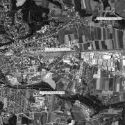 """Überblick 1:20.000 mit GPS-Daten, 1=ehem. Lagergelände, 2=Eisenreichdornach """"Bombenangriff 20.3.1945"""", 3= Bahnhof Amstetten"""