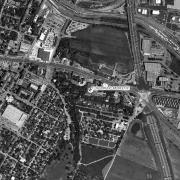 Überblick 1:5.000 mit GPS-Daten, 1=Keller Brucker-Hainburgerstraße 26