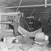 Baracke von innen, Mai 1945