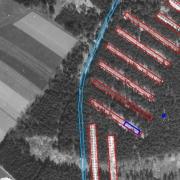 Einmessung der Baracken des ehemaligen KZ Gunskirchen - Luftbild der US Army vom 20.04.1945 - 13 Uhr