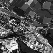 Überblick 1:5.000 mit GPS-Daten, AL Vöcklabruck-Wagrain; 1=ehem. Lagergelände