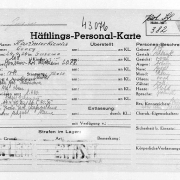 Prisoner personnel card Jerzy Kaźmirkiewicz