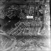 Aerial photograph of the USAF, March 1945 - In the lower right corner of the picture the bomb craters of the allied air raids can be seen very well.
