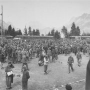 CC-Ebensee: liberated prisoners on the former roll call square, 7 May 1945