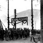 Ebensee concentration camp: survivors greet liberators, May 1945