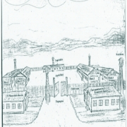Sketch of the camp drawn by former concentration camp inmate Robert Grissinger