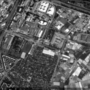 Satellite photo KZ-Saurer Werke: Detail view of former warehouse area and factory buildings