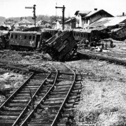 Amstetten station after a bomb attack