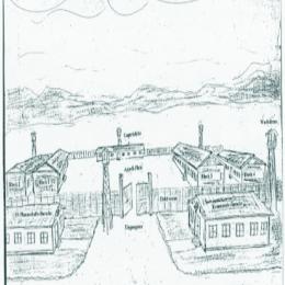 Gezeichnete Skizze des Lagers vom ehem. KZ-Häftling Robert Grissinger